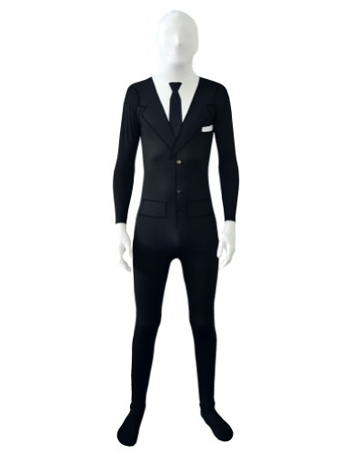 Slender Man Costume Kid (SecondSkin Men's Full Body Spandex/Lycra Suit, Slender Suit, Small)