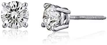 AGS Certified 14K Gold Brilliant Cut Diamond Stud Earrings (I2-I3 Clarity), Choice of Carat Weight