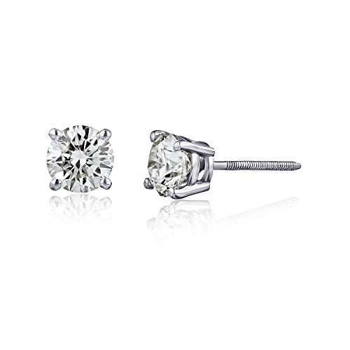 The Diamond Channel 1/4 cttw Certified Diamond Earrings For Women in 14K White Gold with Screw Back and Post Studs (J-K Color, I2 Clarity)