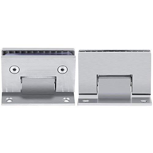 2Pcs Heavy Duty 90 Degree Glass Door Cupboard Showcase Cabinet Clamp Glass Shower Doors Hinge Replacement Part Wall-to-Glass,StainlessSUS304 Steel Brushed Nickel