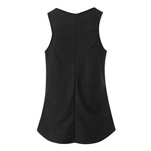 6fa3051fcf0c3f NUWFOR Women Casual Letter Print Vest Sleeveless Loose Crop Tank Tops  Blouse T-Shirt(