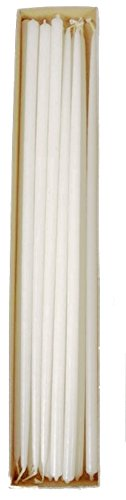 Patrician 16 inches White Skinny Taper Candles Birthday Party Cupcake or Cake Candles Tiny Floral Tapers Candle Set of 12
