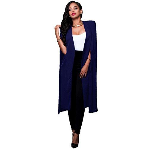 Poncho Coat Top Haut Bleu Cloak Open Boutonnée Trench Fente Jacket Sexy Boutonnéless Style Blazer Tailleur Longue Blouson Veste Duster Fendue Longues Manches De Cape Manteau Devant g5q1nwS