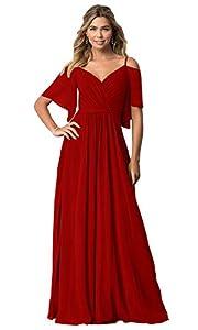 KKarine Women's V Neck Cold Shoulder Ruffled Chiffon Prom Bridesmaid Dresses Long Formal Evening Gown