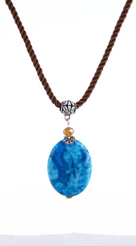 Blue Crazy Lace Agate Pendant on Twisted Brown Satin Cord by A-Ha (N519) ()