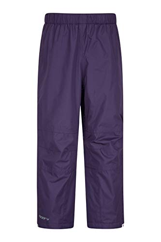 Mountain Warehouse Spray Kids Waterproof Over Trousers - Breathable Childrens Rain Pants, Half Leg Zip, Taped Seams Rain Pants, Durable Over Pants - for Travelling