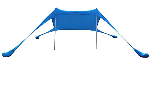 AMMSUN Beach Tent with sandbag Anchors, Portable Canopy Sun Shelter,7 X 7ft -Lightweight, 100% Lycra SunShelter with UV Protection. Sunshade for Family at The Beach, Parks, Camping & Outdoors/Blue