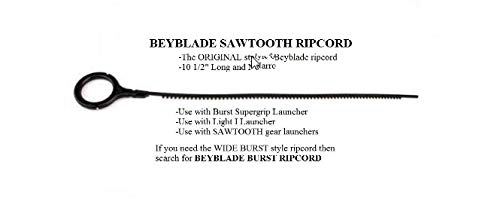 "Commonman Replacement for Beyblade ripcords, Original Style, Quantity: 15, Narrow/Sawtooth, 10 1/2"" Long, Black. Will not fit Most Burst launchers."