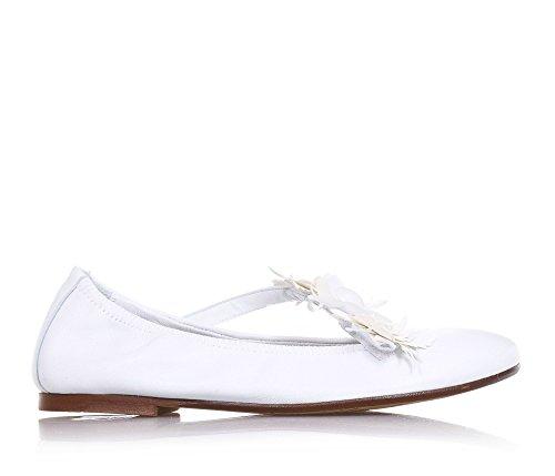 ELI - Ballerine blanche en cuir, réalisée de façon artisanale en Espagne, indiquée pour les occasions de cérémonie, Fille, Filles, Femme, Femmes