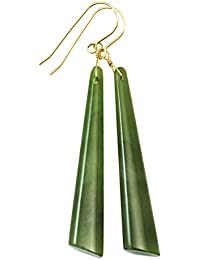 Nephrite Jade Earrings Green Long Skinny Shape 2.6 Inches Long Simple Drops