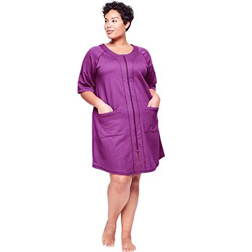 Dreams & Co. Women's Plus Size Short Sleeve French Terry Robe - Dark Raspberry, -