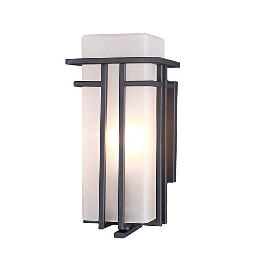 Ganeep LED Outdoor Wall Lamp Victorian Aluminum Modern Minimalist Wall Hanging Lamp, with Milk White Glass Outdoor Wall Fixture, for Garden Balcony Terrace (Size : S)
