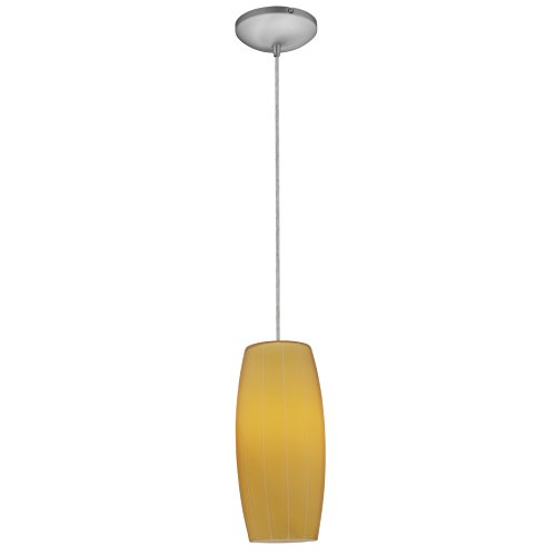 Access Lighting 28070-3C-BS/AMB Cognac LED Cord Pendant with Amber Glass Shade, Brushed Steel