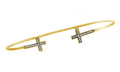 - Jewel Zone US White Natural Diamond Double Cross Bangle Bracelet In 14K Yellow Gold Over Sterling Silver (1/10 Ct)