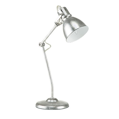 Euro Style Collection Lyon Metal Finish Modern Table Lamp, Silver