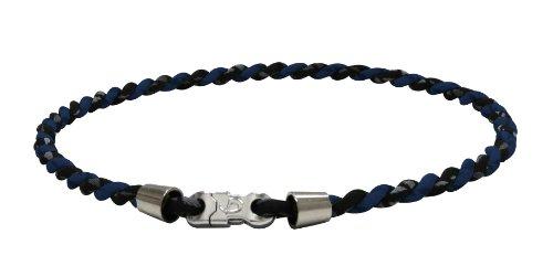 PHITEN Tornado Chrome Titanium Necklace, Black/Navy, 22-Inch