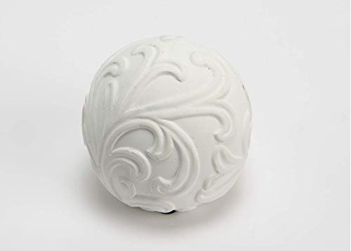 Amadeus White Cement Floral Decoration Ball, 6
