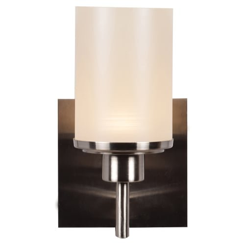Access Lighting Perch LED Vanity - Brushed Steel Finish with Cream Silk Lined Glass Shade