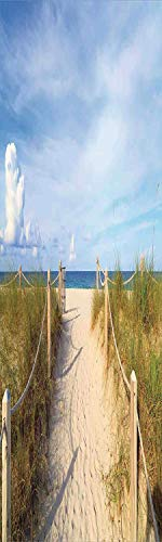 Beach 3D Decorative Film Privacy Window Film No Glue,Frosted Film Decorative,Golden Sandy Beach South Miami with Fences American Style Holiday Login Relax Image,for Home&Office,17.7x70.8Inch Cream Blu