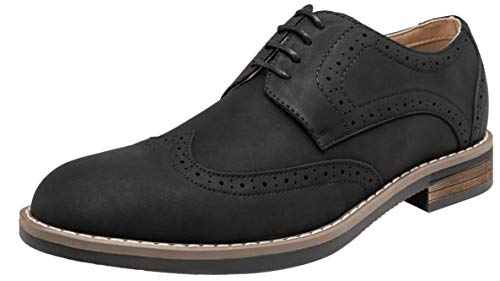 Black Footwear Suede Synthetic (VOSTEY Mens Oxford Wingtip Brogue Suede Dress Shoes for Men (7,Black))