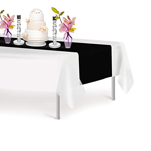 Black 12 Pack Premium Disposable Plastic Table Runner 14 x 108 Inch. Decorative Table Runner for Dinner Parties & Events, Decor By - Table Plastic Run