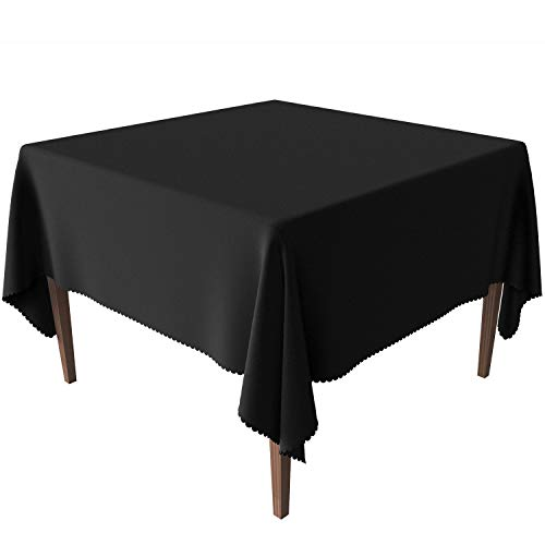 (JESELRY Thicken Tablecloth Square - Stain Resistant Table Linen Washable Polyester Table Cloth Wrinkle Resistant Table Cover Spillproof Tablecloth for Dining Room (Tablecloth Black, 54X54)