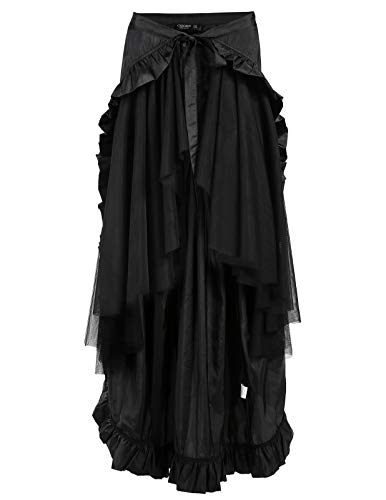 CHICIRIS Halloween Costumes Gothic Victorian Ruffled Skirt Sleeveless for Women Black Size M ()