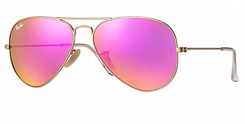 Sunglasses Ray Mirror Ban (Ray Ban RB3025 112/4T 58M Matte Gold/ Green Mirror Fuxia Aviator)