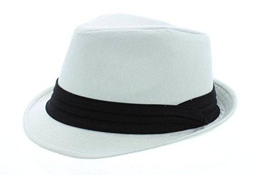 [Boardwalk Empire Inspired Fedora- White] (Fedora Gangster Hat)