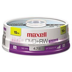 Maxell 634046 DVD+RW Discs, 4.7GB, 4x, Spindle, Silver, 15/Pack by Maxell