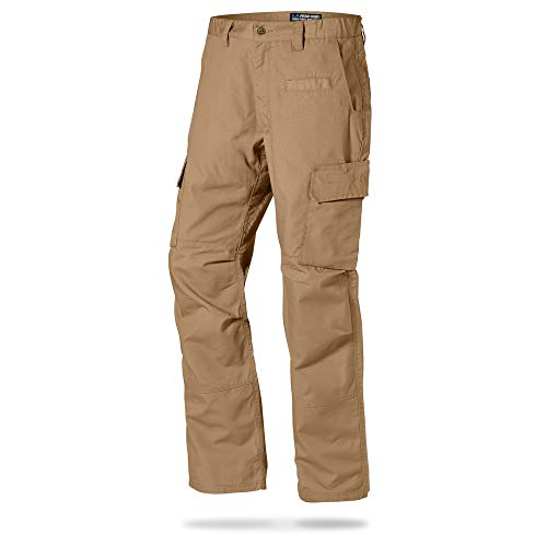 LA Police Gear Mens Urban Ops Tactical Cargo Pants - Elastic WB - YKK Zipper - Coyote Brown - 38 x 34