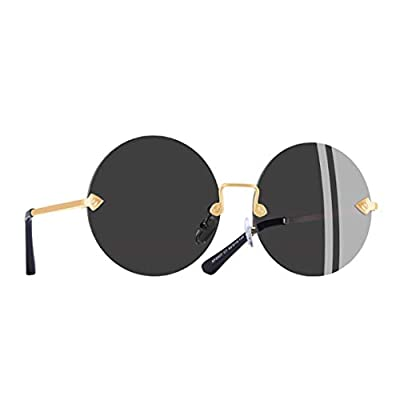 Round Frameless Sunglasses Women Retro Vintage Mirror Sunglasses Eyewear Lenses UV400 A2407