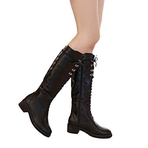 Heel Black Boots Fashion Riding Straight Driving Pretty Long Mid Retro Tube Square Women Martin Lace Boots UP xZFazwq