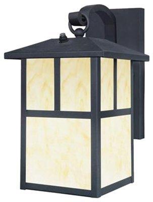 Nova Lighting Glass - Westinghouse 6482900 Nova Scotia One-Light Outdoor Wall Lantern with Dusk to Dawn Sensor, Textured Black Finish with Honey Art Glass - Pack of 2