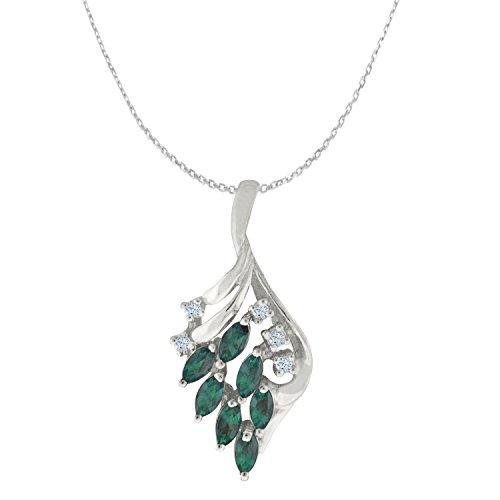 Designed by Ellen Natural Color Change Alexandrite Diamond Pendant in 14 K White Gold