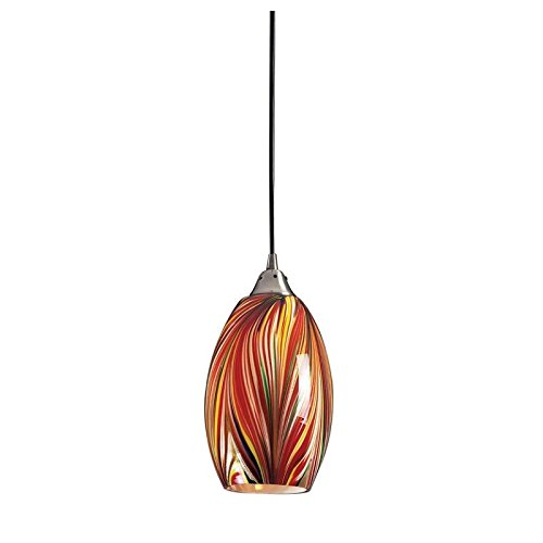 Elk 517-1M-LED Mulinello 1-LED Light Pendant with Multicolor Swirled Glass Shade, 6 by 11-Inch, Satin Nickel Finish (Glass Blown Swirled)