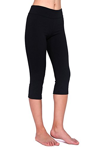 Daisity Women's Capri Legging - Gym Activewear Slim Spandex Tights - S - XL Color Black Size M