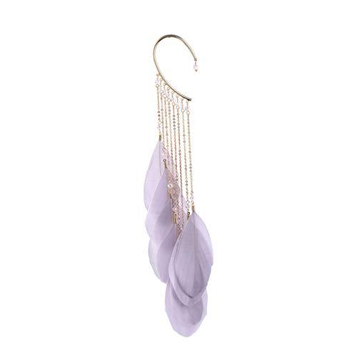 (Jocund Women Single Earring Alloy Tassel Drop Earrings Leaf Natural Fashion Jewelry)