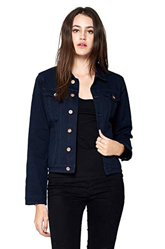 (Blue Age Women's Colored Denim Jean Jacket Solid Navy (DJK221A_Navy_L))