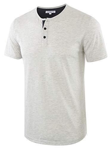 (HARBETH Men's Casual Soft Athletic Regular Fit Short Sleeve Henley Jersey Shirt H.Oatmeal/C.Blue XXL)