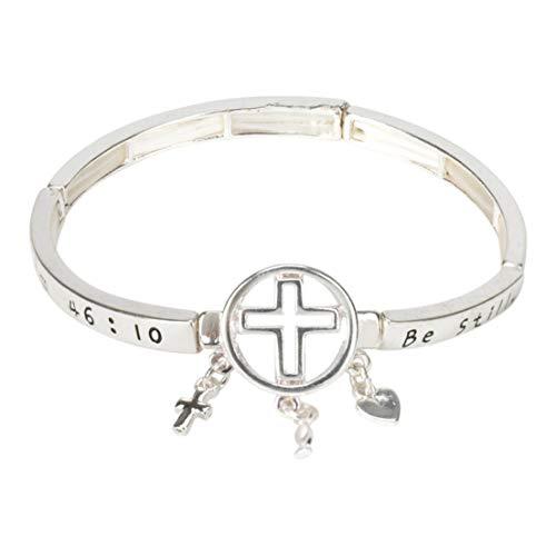 Dicksons Be Still Psalms 46:10 Cross Women's Tile Stretch Silver-Plated Charm Bracelet
