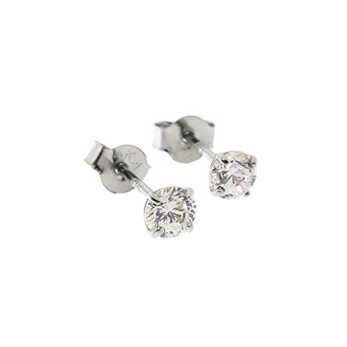 14k White Gold Basket Set Cubic Zirconia Stud Earrings, 3mm ()