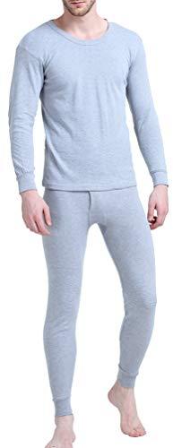 Crew Neck Men Thermal Underwear Long John Set 100% Cotton Winter Base Layer Top and Bottom (Light Grey XXL)
