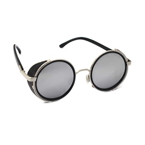 Mirror lens Round Glasses Cyber Goggles Steampunk UV400 Sunglasses(light silver mirror)