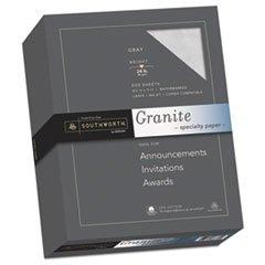 - Granite Specialty Paper, Gray, 24 lbs., 8-1/2 x 11, 25% Cotton, 500/Box
