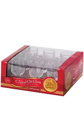 Small Crystal Glass Oil Cup Holders #12 / 9 Pack ; Burning Time 2 Hours (aprox..)