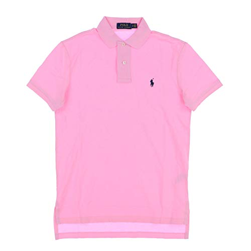 Polo Ralph Lauren Mens Classic Fit Stretch Mesh Polo Shirt (Large, Pink)