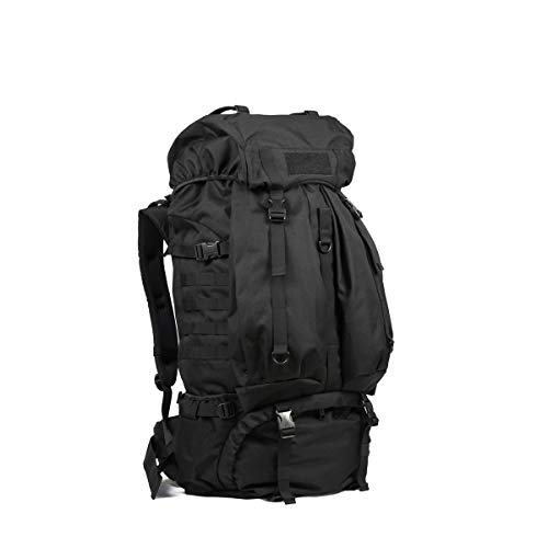 (Tongboshi Outdoor Hiking Mountain Shoulder Backpack, Men and Women Waterproof Travel Backpack Khaki, Gray, Black (Color : Black))