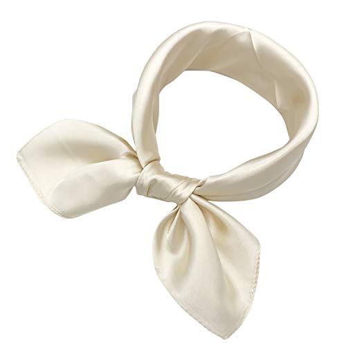 YOUR SMILE Silk Feeling Like Solid Color Scarf Women's Fashion Pattern Large Square Satin Headscarf Headdress 24''x24'',Cream Ivory White