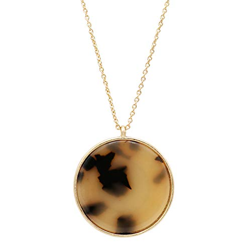 Rosemarie Collections Women's Fashionable Round Disc Lucite Long Pendant Necklace (Black/White) (Lucite Pendant)